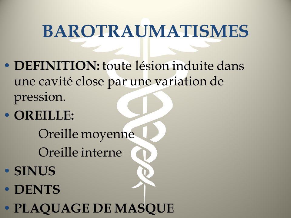 BAROTRAUMATISME DES SINUS DE LA FACE 1/2