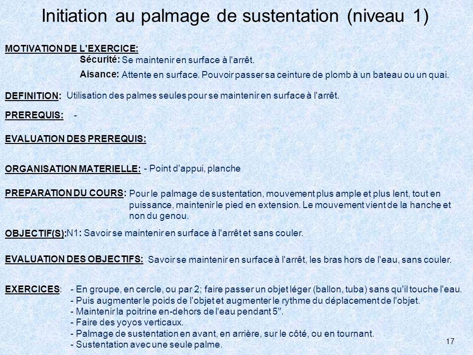 17 Initiation au palmage de sustentation (niveau 1) MOTIVATION DE L'EXERCICE: Sécurité: Aisance: Se maintenir en surface à l'arrêt. Attente en surface