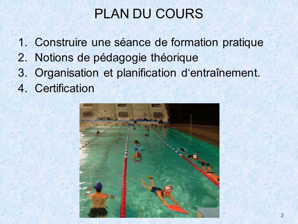 2 PLAN DU COURS 1.Construire une séance de formation pratique 2.Notions de pédagogie théorique 3.Organisation et planification dentraînement. 4.Certif