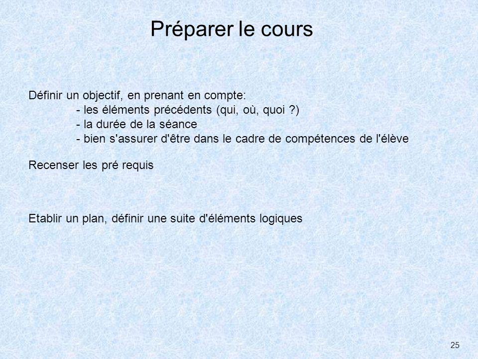 25 Préparer le cours Définir un objectif, en prenant en compte: - les éléments précédents (qui, où, quoi ?) - la durée de la séance - bien s'assurer d