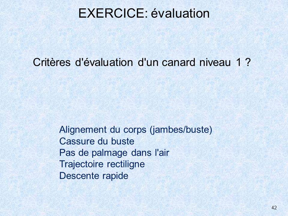 42 EXERCICE: évaluation Critères d'évaluation d'un canard niveau 1 ? Alignement du corps (jambes/buste) Cassure du buste Pas de palmage dans l'air Tra