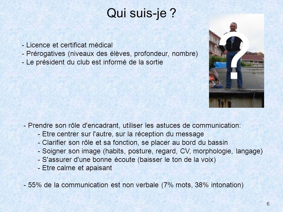 6 Qui suis-je ? - Licence et certificat médical - Prérogatives (niveaux des élèves, profondeur, nombre) - Le président du club est informé de la sorti