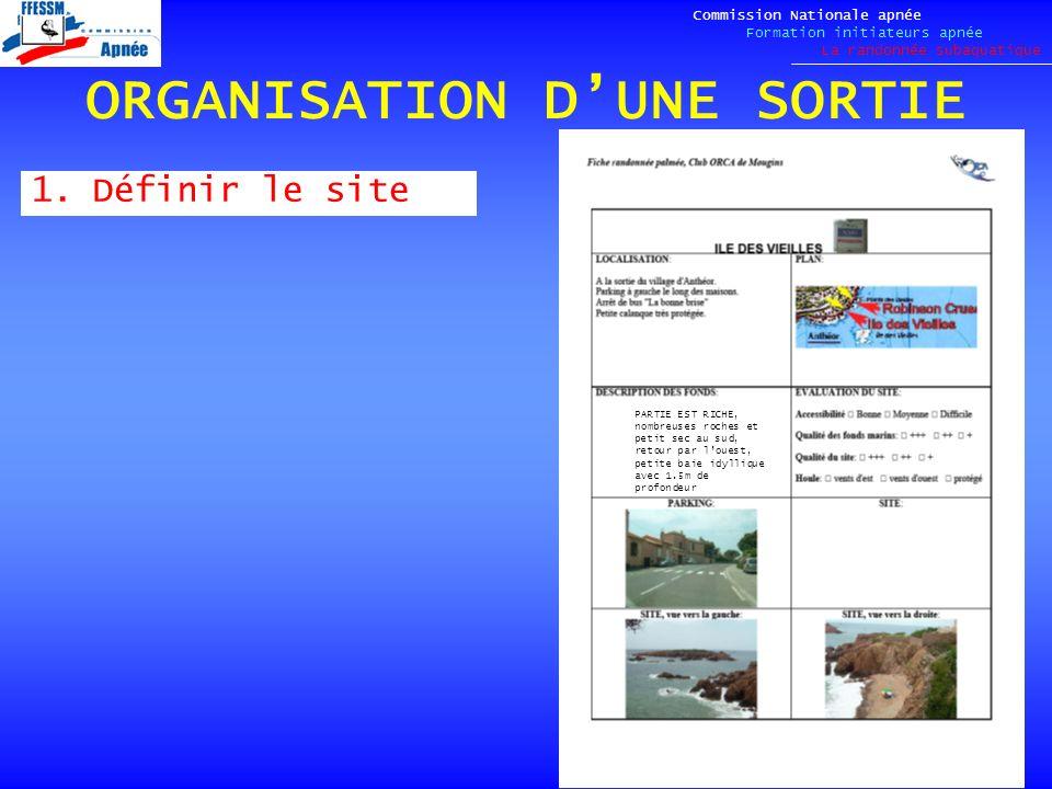 ORGANISATION DUNE SORTIE 1.Définir le site Commission Nationale apnée Formation initiateurs apnée La randonnée subaquatique PARTIE EST RICHE, nombreus