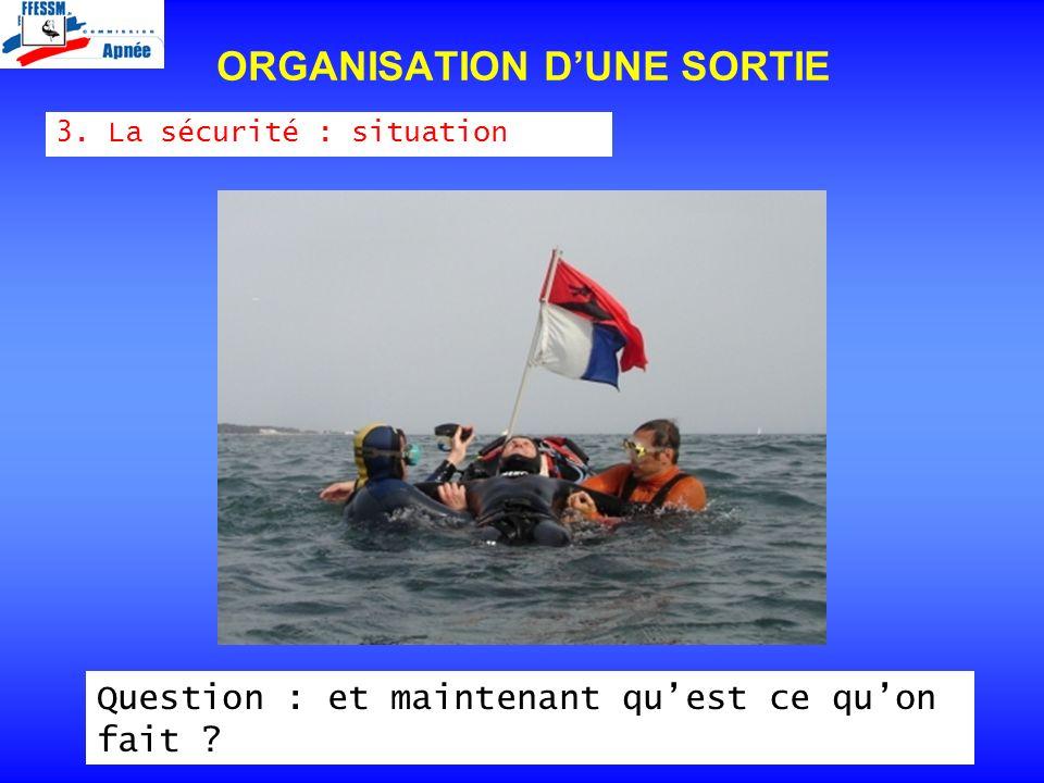 3. La sécurité : situation ORGANISATION DUNE SORTIE Question : et maintenant quest ce quon fait ?