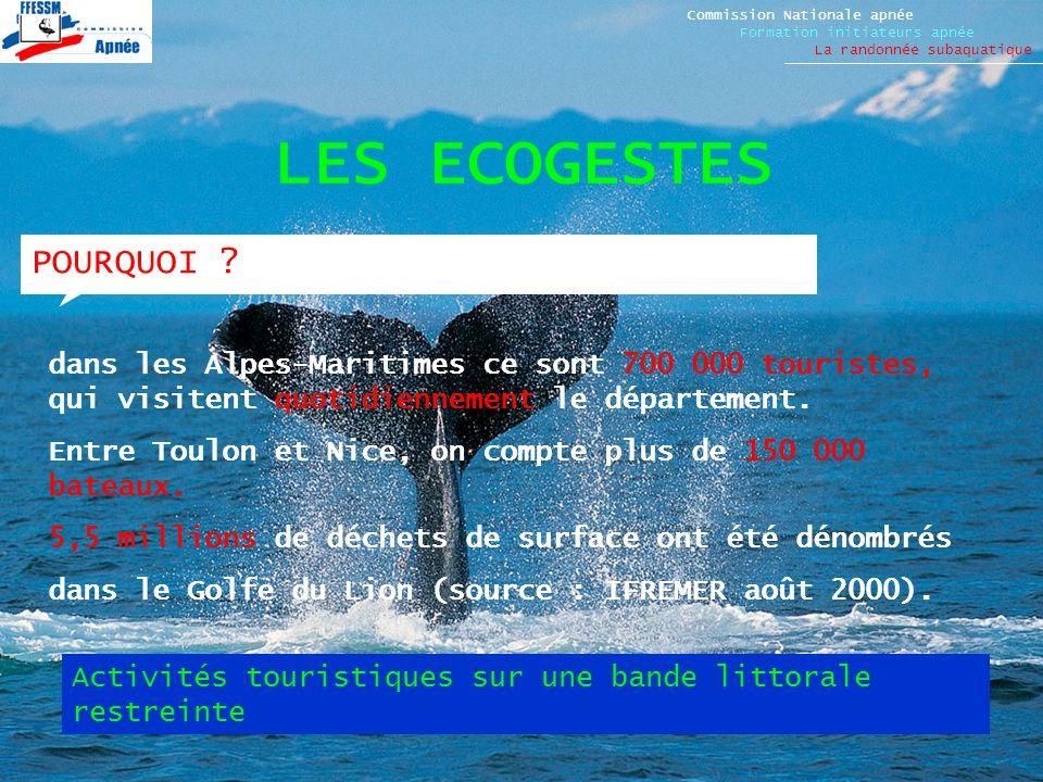 LES ECOGESTES Commission Nationale apnée Formation initiateurs apnée La randonnée subaquatique POURQUOI ? dans les Alpes-Maritimes ce sont 700 000 tou