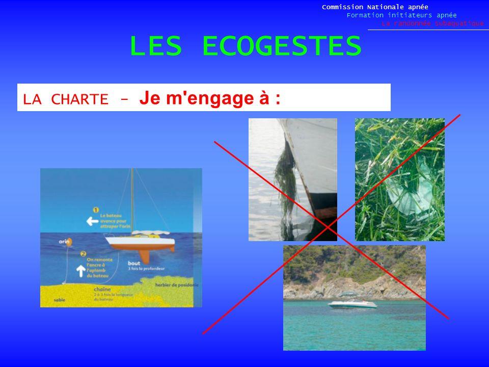 LES ECOGESTES Commission Nationale apnée Formation initiateurs apnée La randonnée subaquatique LACHARTE - Je m'engage à :