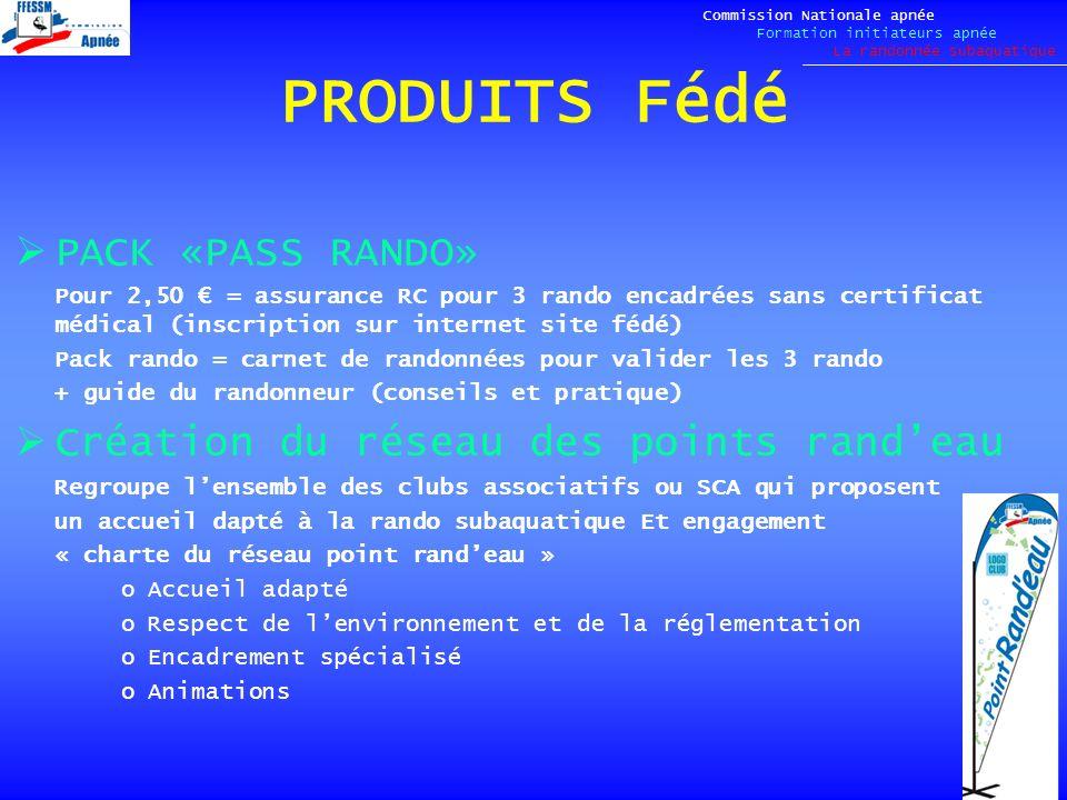 PRODUITS Fédé PACK «PASS RANDO» Pour 2,50 = assurance RC pour 3 rando encadrées sans certificat médical (inscription sur internet site fédé) Pack rand