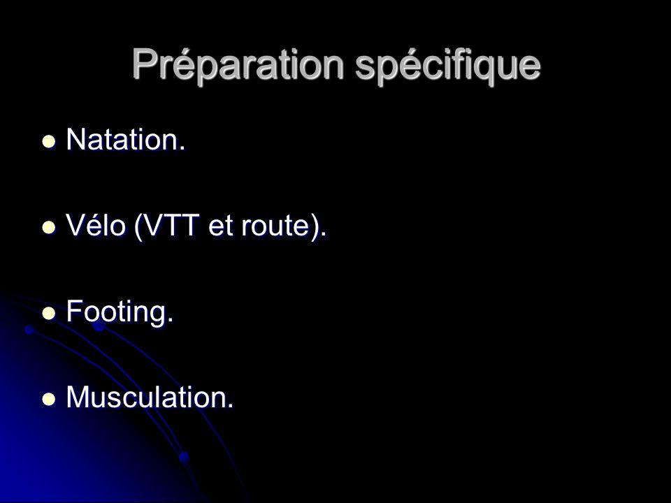 Préparation spécifique Natation. Natation. Vélo (VTT et route). Vélo (VTT et route). Footing. Footing. Musculation. Musculation.