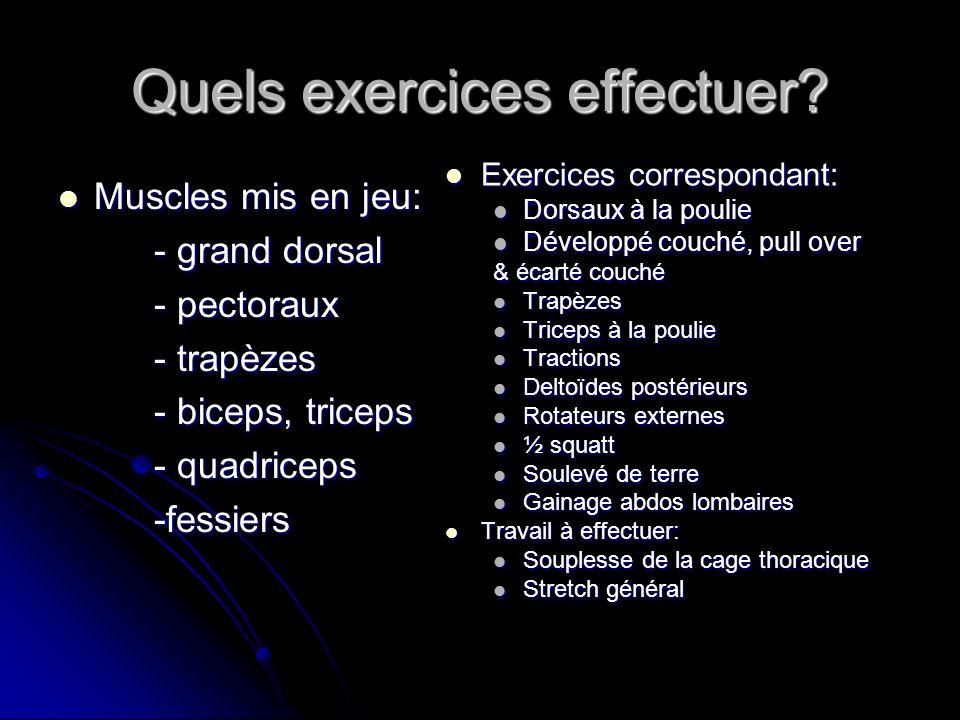 Quels exercices effectuer? Muscles mis en jeu: Muscles mis en jeu: - grand dorsal - pectoraux - trapèzes - biceps, triceps - quadriceps -fessiers Exer