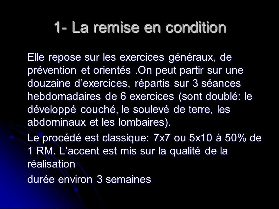 1- La remise en condition Elle repose sur les exercices généraux, de prévention et orientés.On peut partir sur une douzaine dexercices, répartis sur 3