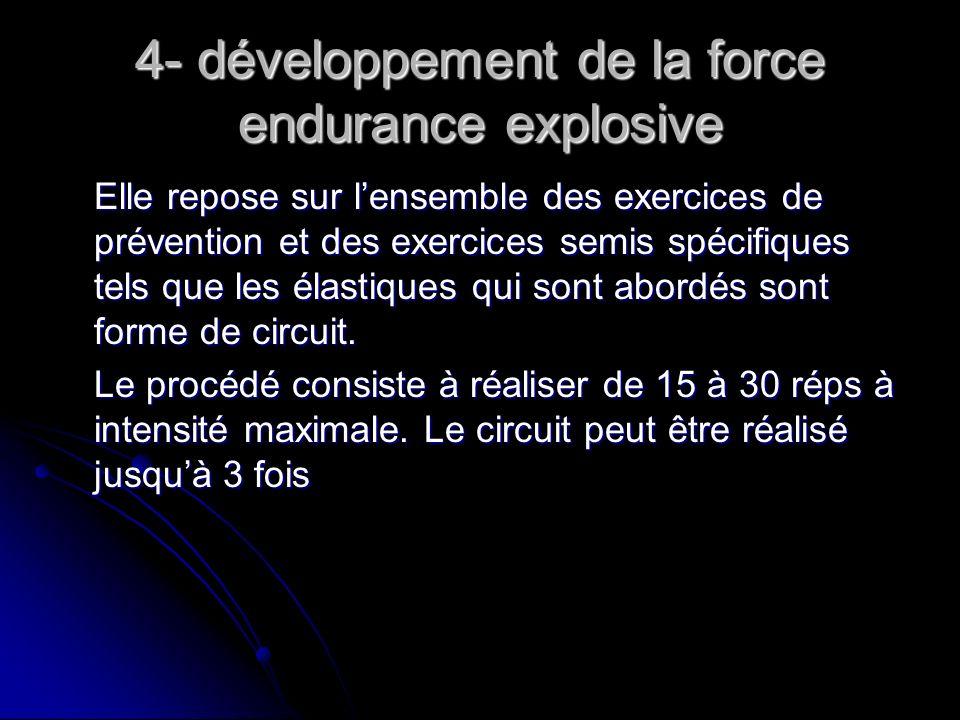 4- développement de la force endurance explosive Elle repose sur lensemble des exercices de prévention et des exercices semis spécifiques tels que les