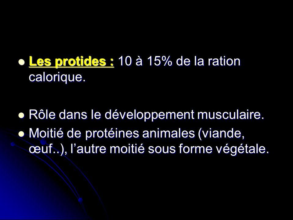 Les protides : 10 à 15% de la ration calorique. Les protides : 10 à 15% de la ration calorique. Rôle dans le développement musculaire. Rôle dans le dé