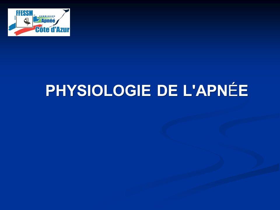 Variations de la pression artérielle en O 2 paO 2 Temps Seuil syncopal (30 mmHg) Réserve dair: Volume pulmonaire 5-7 litres 160 mmHg ** *** ** ***** * FACTEURS AMELIORABLES PAR LENTRAINEMENT ** * Utilisation de loxygène: - Transport de loxygène (Hb) - Métabolisme - Cœur - Cerveau - Muscles +Résistance cellulaire à lhypoxie Syncope hypoxique Hypoxie = p aramètre non conscient mais «sensations» dérivées