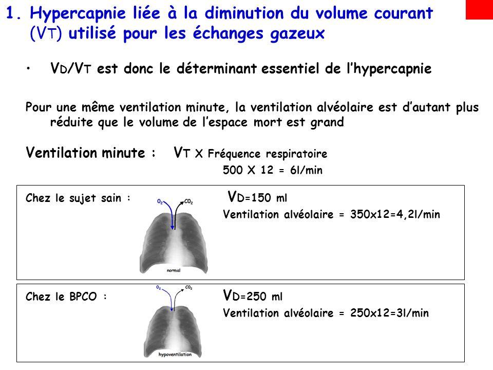 1.Hypercapnie liée à la diminution du volume courant (V T ) utilisé pour les échanges gazeux V D /V T est donc le déterminant essentiel de lhypercapnie Pour une même ventilation minute, la ventilation alvéolaire est dautant plus réduite que le volume de lespace mort est grand Ventilation minute : V T X Fréquence respiratoire 500 X 12 = 6l/min Chez le sujet sain : V D=150 ml Ventilation alvéolaire = 350x12=4,2l/min En hyperventilant : Ventilation alvéolaire = 350x25=10,5l/min V D=250 ml Chez le BPCO : Ventilation alvéolaire = 250x12=3l/min En hyperventilant : Ventilation alvéolaire = 250x25=6,2l/min =6,2l/min