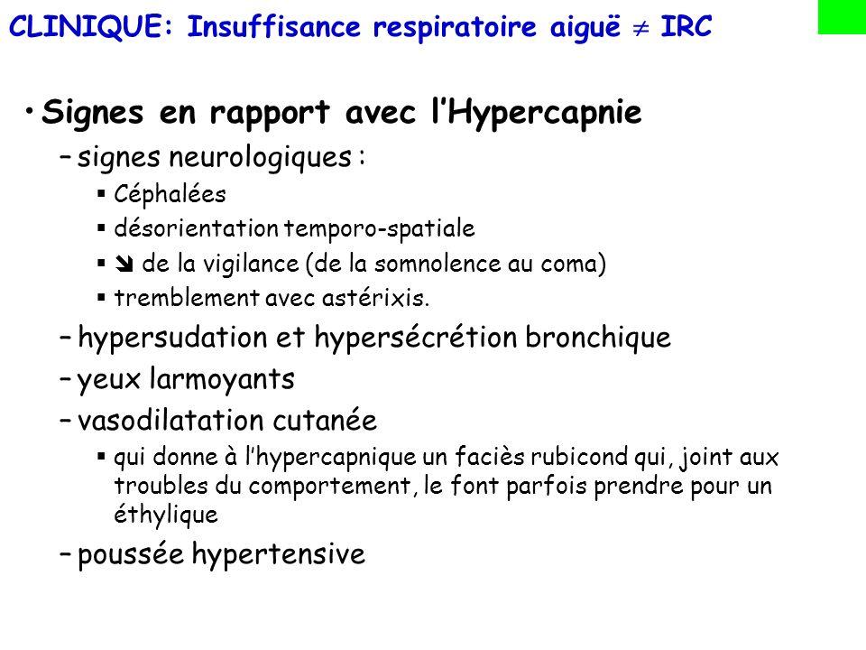 Conséquences de linsuffisance respiratoire sur lorganisme L hypercapnie : –même élevée autour de 80 à 100 mmHg n est pas ou peu nocive tant que le pH reste normal C est l hypoxémie qui est nocive –elle induit une souffrance tissulaire sur tous les organes –on admet que c est pour une Pa0 2 55 mmHg que débute le retentissement tissulaire