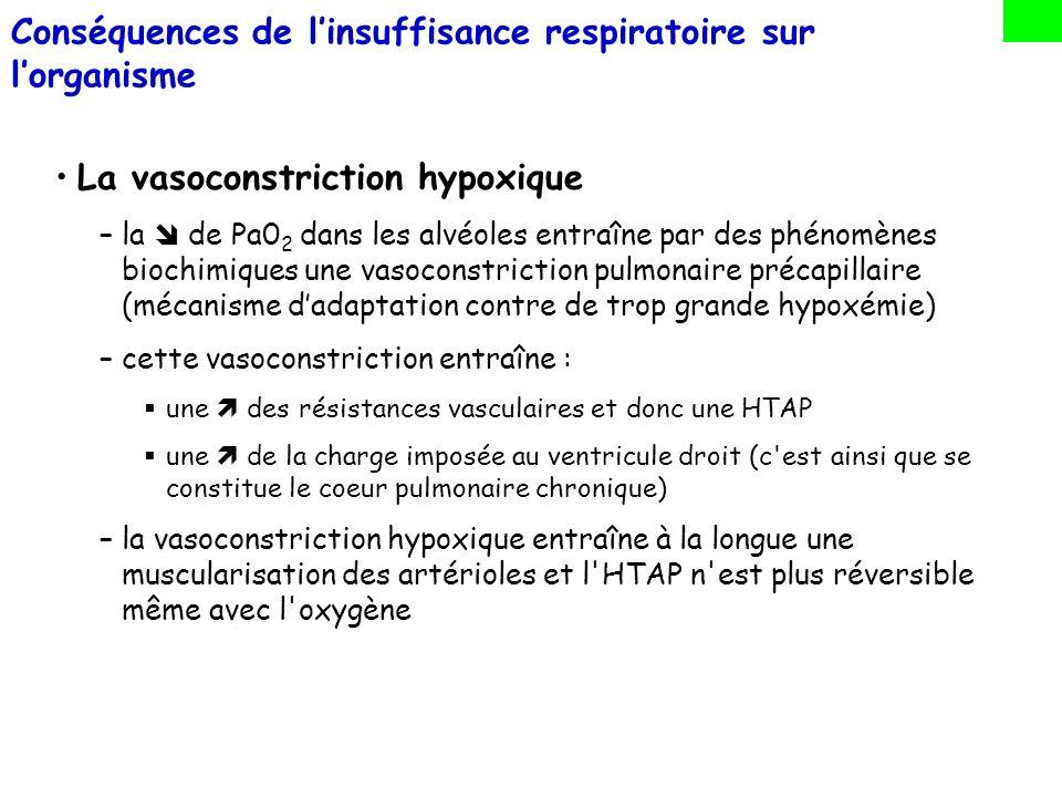 La polyglobulie : –phénomène d adaptation : l hypoxémie stimule la sécrétion d érythropoiétine –l du nombre de globules rouges compense leur Sa0 2 insuffisante –nocif du fait de l augmentation de la viscosité sanguine (ralentissement de la circulation capillaire et de la charge du VD) Rétention hydrosodé –anomalies de la régulation du facteur natriurétique Conséquences de linsuffisance respiratoire sur lorganisme