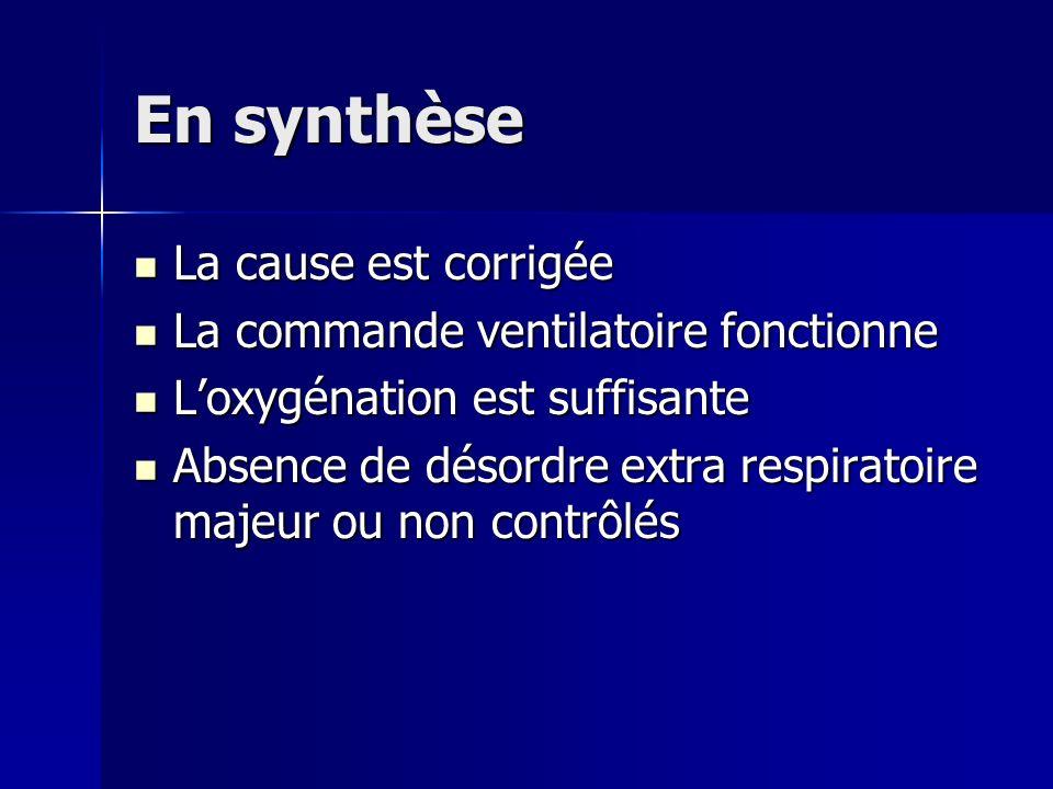 En synthèse La cause est corrigée La cause est corrigée La commande ventilatoire fonctionne La commande ventilatoire fonctionne Loxygénation est suffi
