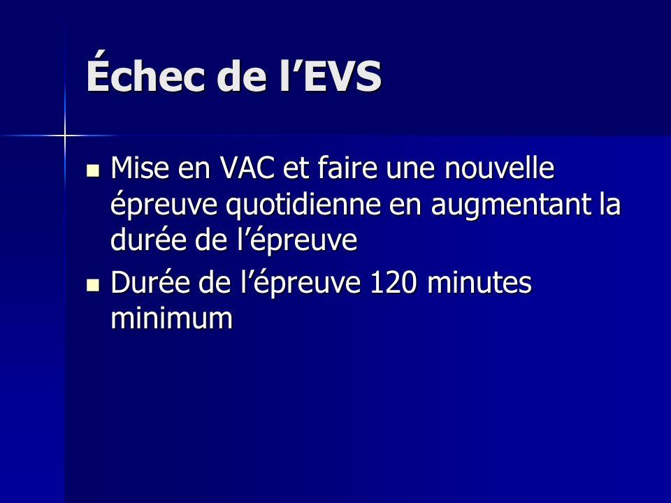 Échec de lEVS Mise en VAC et faire une nouvelle épreuve quotidienne en augmentant la durée de lépreuve Mise en VAC et faire une nouvelle épreuve quoti