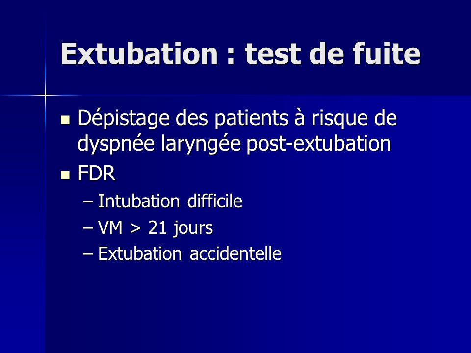 Extubation : test de fuite Dépistage des patients à risque de dyspnée laryngée post-extubation Dépistage des patients à risque de dyspnée laryngée pos