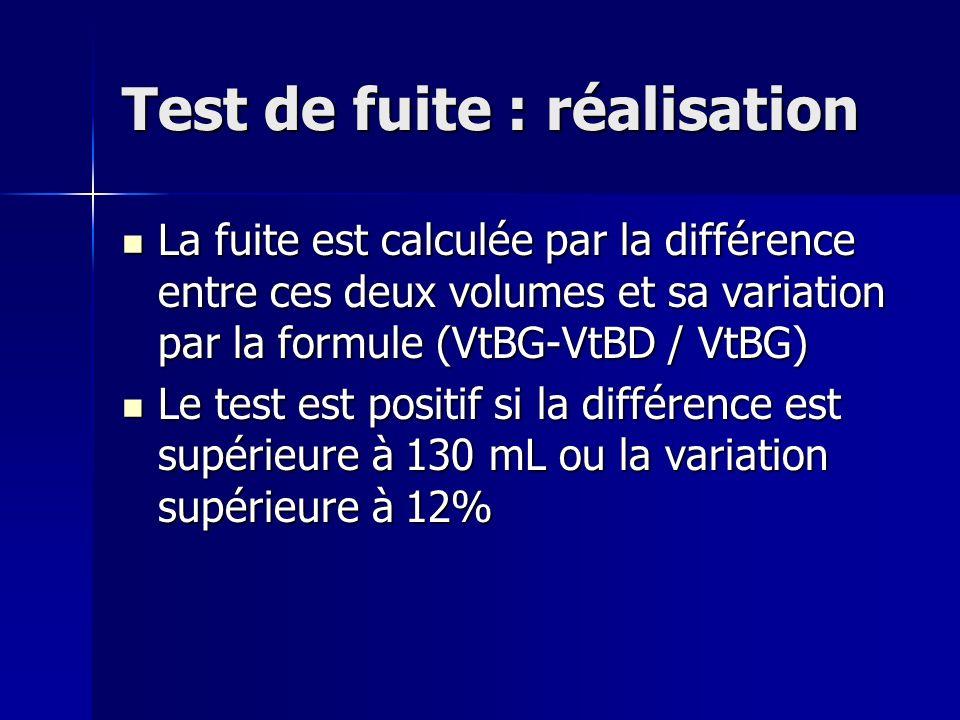 Test de fuite : réalisation La fuite est calculée par la différence entre ces deux volumes et sa variation par la formule (VtBG-VtBD / VtBG) La fuite