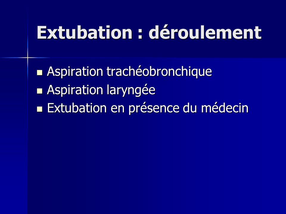Extubation : déroulement Aspiration trachéobronchique Aspiration trachéobronchique Aspiration laryngée Aspiration laryngée Extubation en présence du m