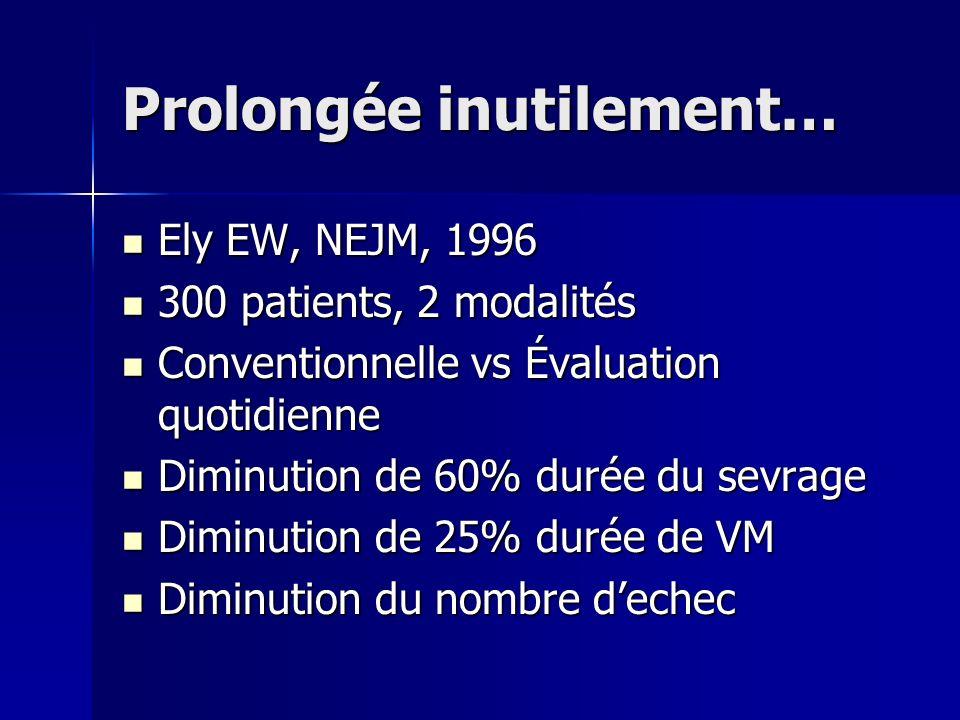 Prolongée inutilement… Ely EW, NEJM, 1996 Ely EW, NEJM, 1996 300 patients, 2 modalités 300 patients, 2 modalités Conventionnelle vs Évaluation quotidi