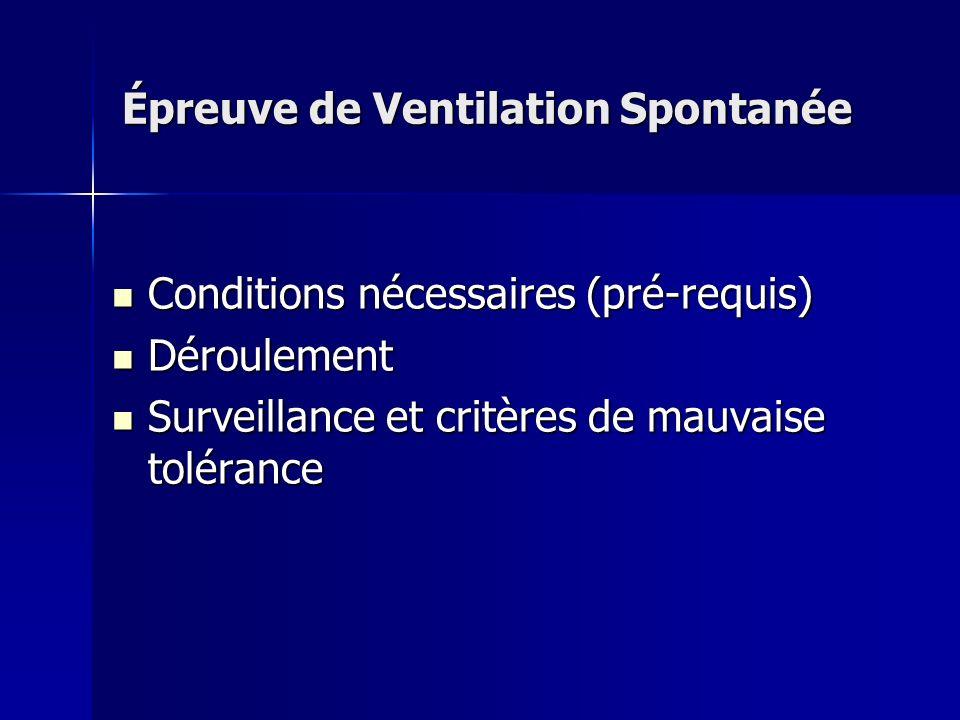 Épreuve de Ventilation Spontanée Conditions nécessaires (pré-requis) Conditions nécessaires (pré-requis) Déroulement Déroulement Surveillance et critè