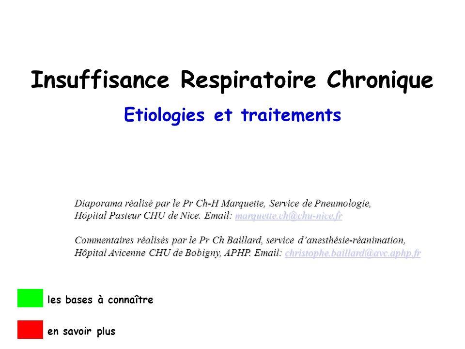 Insuffisance Respiratoire Chronique Etiologies et traitements les bases à connaître en savoir plus Diaporama réalisé par le Pr Ch-H Marquette, Service