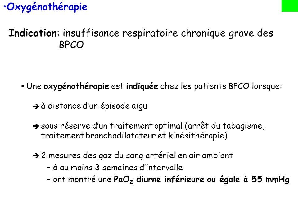 Oxygénothérapie Indication: insuffisance respiratoire chronique grave des BPCO Une oxygénothérapie est indiquée chez les patients BPCO lorsque: à dist