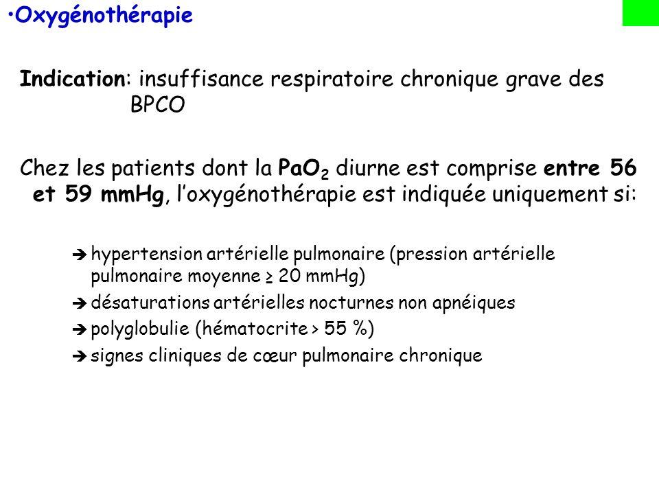 Oxygénothérapie Indication: insuffisance respiratoire chronique grave des BPCO Chez les patients dont la PaO 2 diurne est comprise entre 56 et 59 mmHg