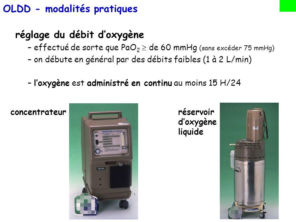 réglage du débit doxygène –effectué de sorte que PaO 2 de 60 mmHg (sans excéder 75 mmHg) –on débute en général par des débits faibles (1 à 2 L/min) –l