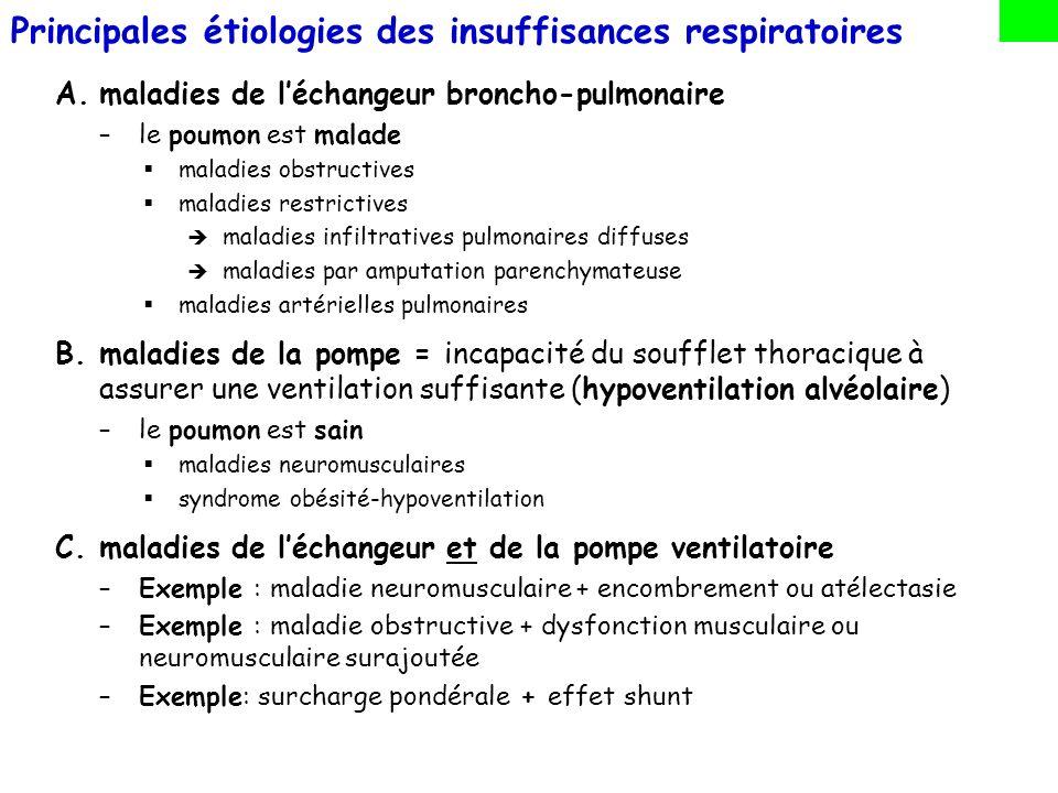Principales étiologies des insuffisances respiratoires A.maladies de léchangeur broncho-pulmonaire –le poumon est malade maladies obstructives maladie
