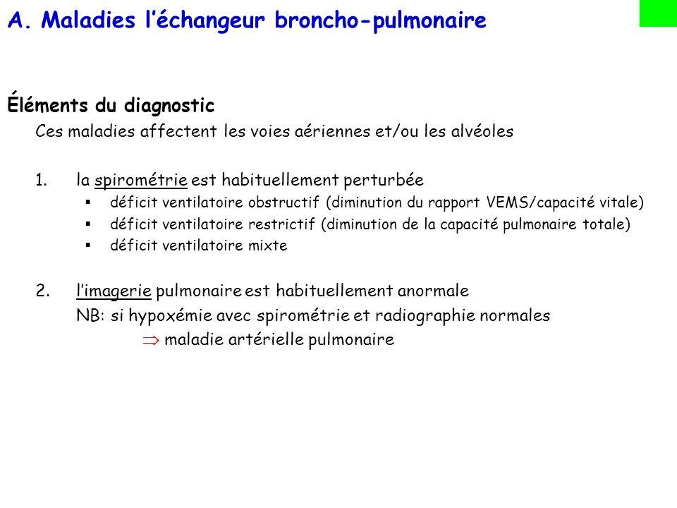 A.Maladies léchangeur broncho-pulmonaire Éléments du diagnostic Ces maladies affectent les voies aériennes et/ou les alvéoles 1.la spirométrie est hab