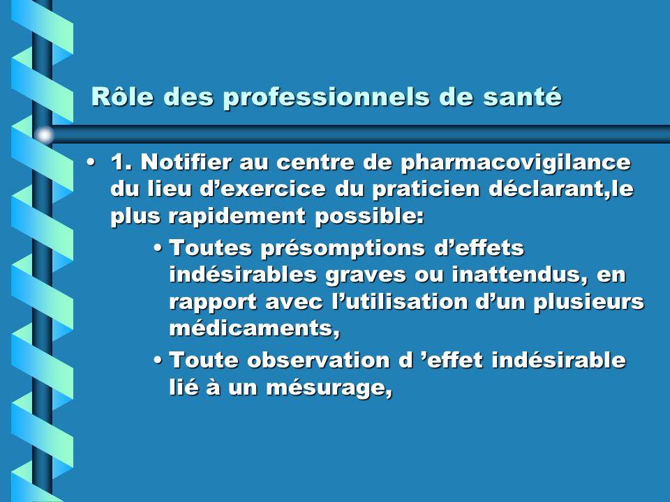 Rôle des professionnels de santé 1.