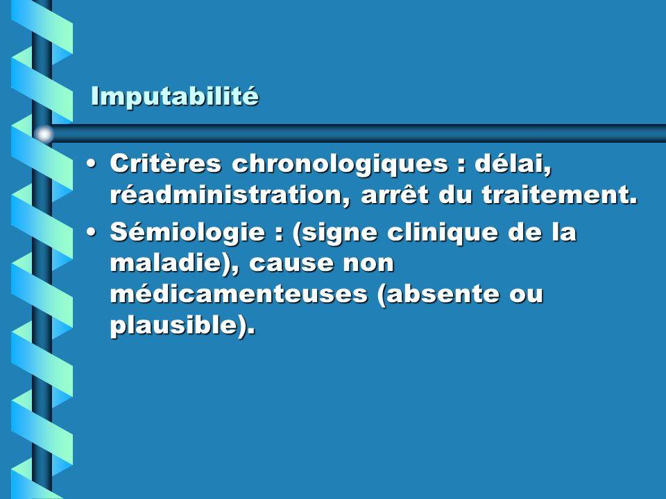 Imputabilité Critères chronologiques : délai, réadministration, arrêt du traitement.Critères chronologiques : délai, réadministration, arrêt du traitement.