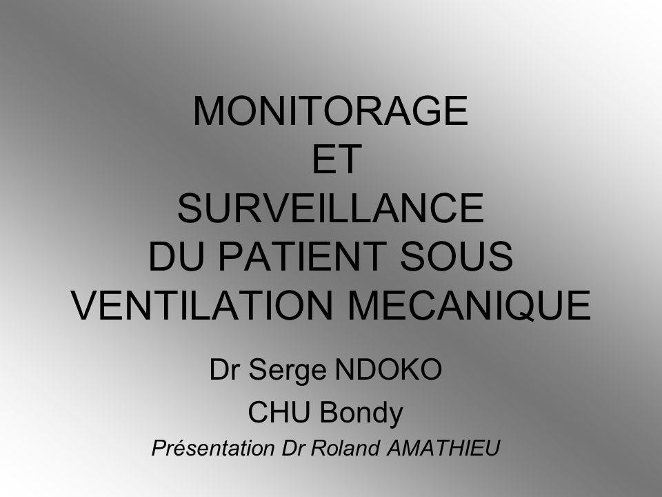 MONITORAGE ET SURVEILLANCE DU PATIENT SOUS VENTILATION MECANIQUE Dr Serge NDOKO CHU Bondy Présentation Dr Roland AMATHIEU