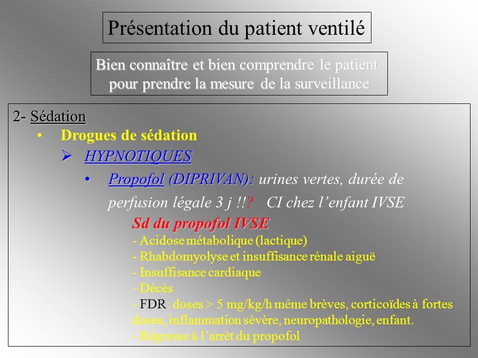 2- Sédation Drogues de sédation HYPNOTIQUES HYPNOTIQUES Propofol (DIPRIVAN):Propofol (DIPRIVAN): urines vertes, durée de perfusion légale 3 j !!? CI c