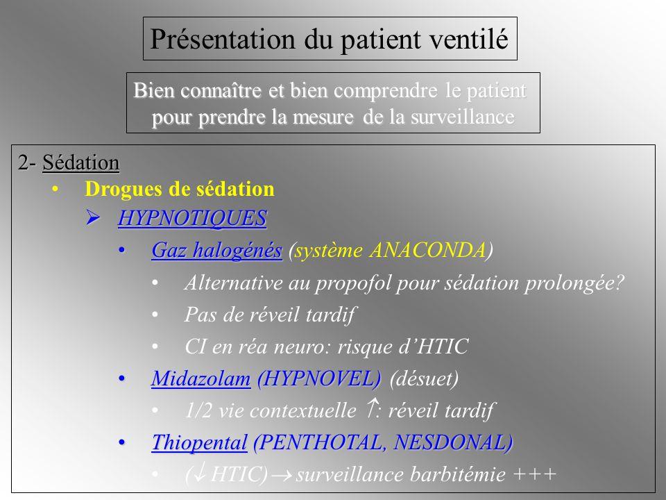 2- Sédation Drogues de sédation HYPNOTIQUES HYPNOTIQUES Gaz halogénésGaz halogénés (système ANACONDA) Alternative au propofol pour sédation prolongée?
