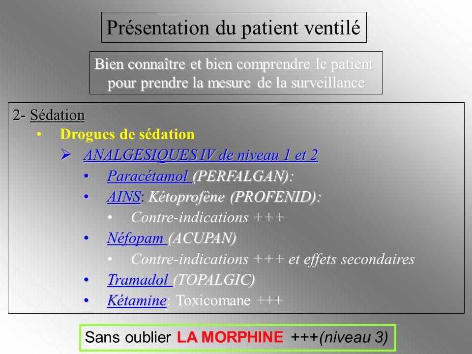 2- Sédation Drogues de sédation ANALGESIQUES IV de niveau 1 et 2 ANALGESIQUES IV de niveau 1 et 2 Paracétamol (PERFALGAN):Paracétamol (PERFALGAN): AIN