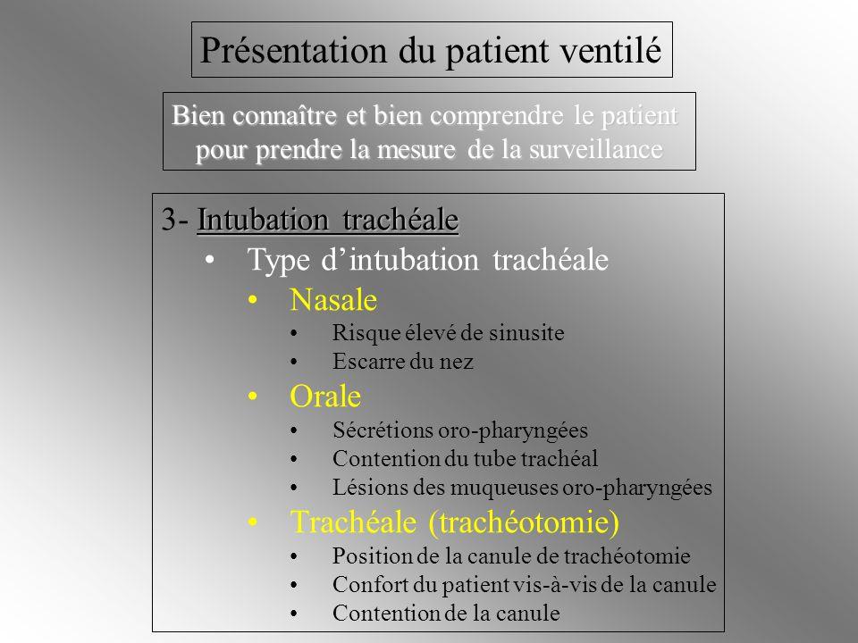 Intubation trachéale 3- Intubation trachéale Type dintubation trachéale Nasale Risque élevé de sinusite Escarre du nez Orale Sécrétions oro-pharyngées