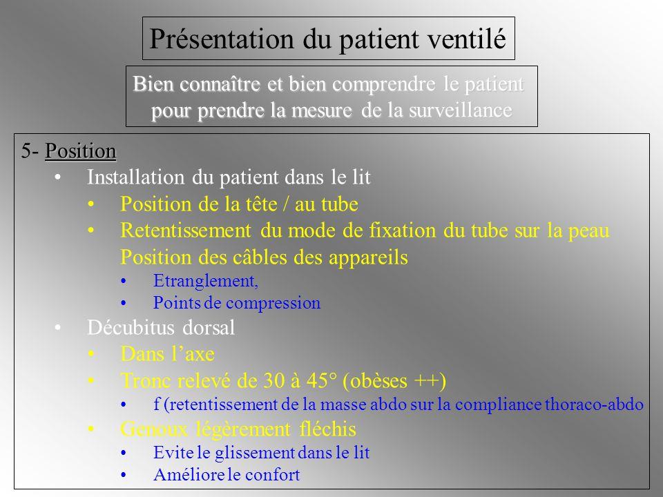 Position 5- Position Installation du patient dans le lit Position de la tête / au tube Retentissement du mode de fixation du tube sur la peau Position