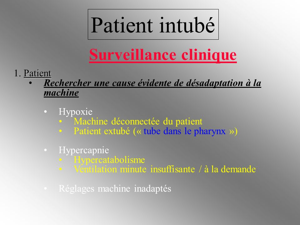 Patient intubé Patient 1. Patient Rechercher une cause évidente de désadaptation à la machine Hypoxie Machine déconnectée du patient Patient extubé («