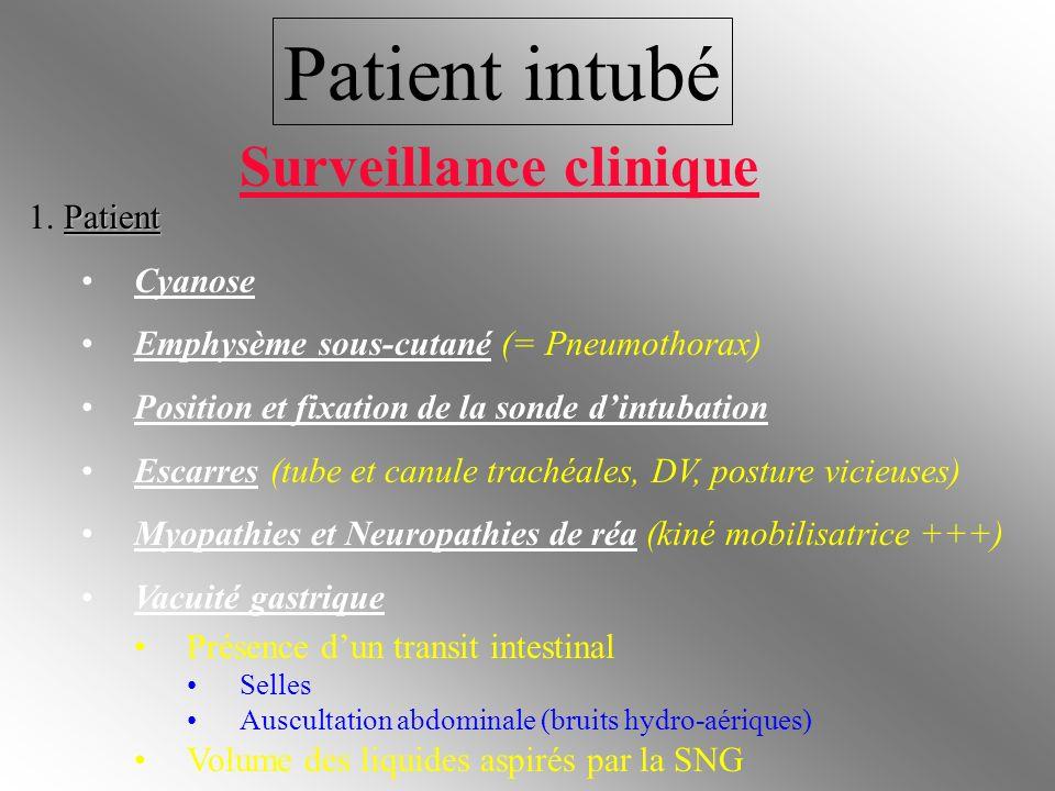 Patient intubé Patient 1. Patient Cyanose Emphysème sous-cutané (= Pneumothorax) Position et fixation de la sonde dintubation Escarres (tube et canule