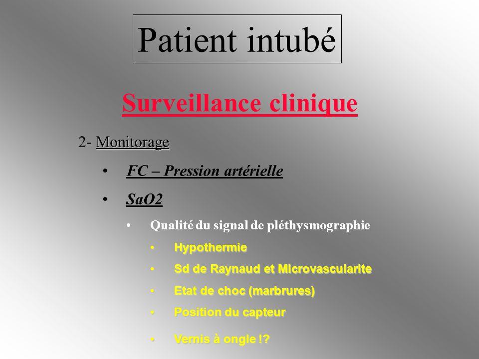 Patient intubé Monitorage 2- Monitorage FC – Pression artérielle SaO2 Qualité du signal de pléthysmographie Hypothermie Hypothermie Sd de Raynaud et M