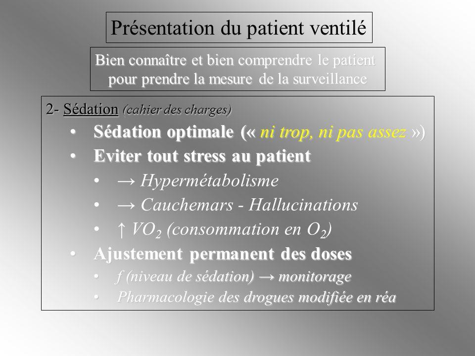 Intubation trachéale 3- Intubation trachéale Intubation difficile Extubation accidentelle à éviter +++ Extubation accidentelle à éviter +++ Niveau de sédation adapté Bonne contention du tube trachéal Surveillance de la profondeur (cm) du tube trachéal (graduations) Position extrémité du tube / à la carène trachéale (radio pulm.) Risque de dyspnée laryngée à lextubation intubation encore plus difficile du fait de lœdème laryngé Réintubation Rechercher les causes Surveiller la récidive des mêmes causes Présentation du patient ventilé Bien connaître et bien comprendre le patient pour prendre la mesure de la surveillance