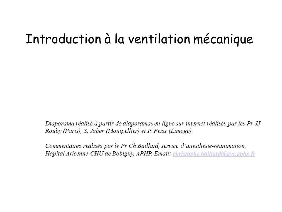 Introduction à la ventilation mécanique Diaporama réalisé à partir de diaporamas en ligne sur internet réalisés par les Pr JJ Rouby (Paris), S. Jaber