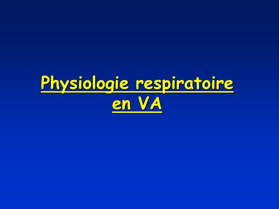 Mécanique ventilatoire en VA VA = Ventilation en pression positive En fin d expiration : *P pl négative (-5 cm H 2 0) *P ao = P alv = 0 aucun flux de gaz Pendant l inspiration : *P ao par insufflation du respirateur *P alv devient positive *P pl devient positive par transmission *Pao > P alv génère débit inspiratoire (entrée de gaz) En fin d inspiration : *P ao = P alv = 15-20 cm H 2 0 aucun flux de gaz Pendant l expiration : *P ao par arrêt de l insufflation du respirateur *P alv sous effet des forces rétractiles du poumon *P alv > P ao génère débit expiratoire (sortie de gaz) *P pl devient négative par transmission