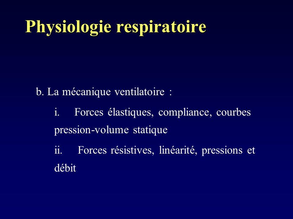 Physiologie respiratoire b. La mécanique ventilatoire : i. Forces élastiques, compliance, courbes pression-volume statique ii. Forces résistives, liné