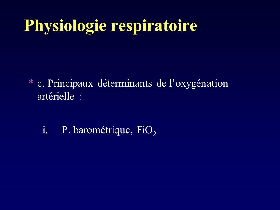 Physiologie respiratoire *c. Principaux déterminants de loxygénation artérielle : i. P. barométrique, FiO 2