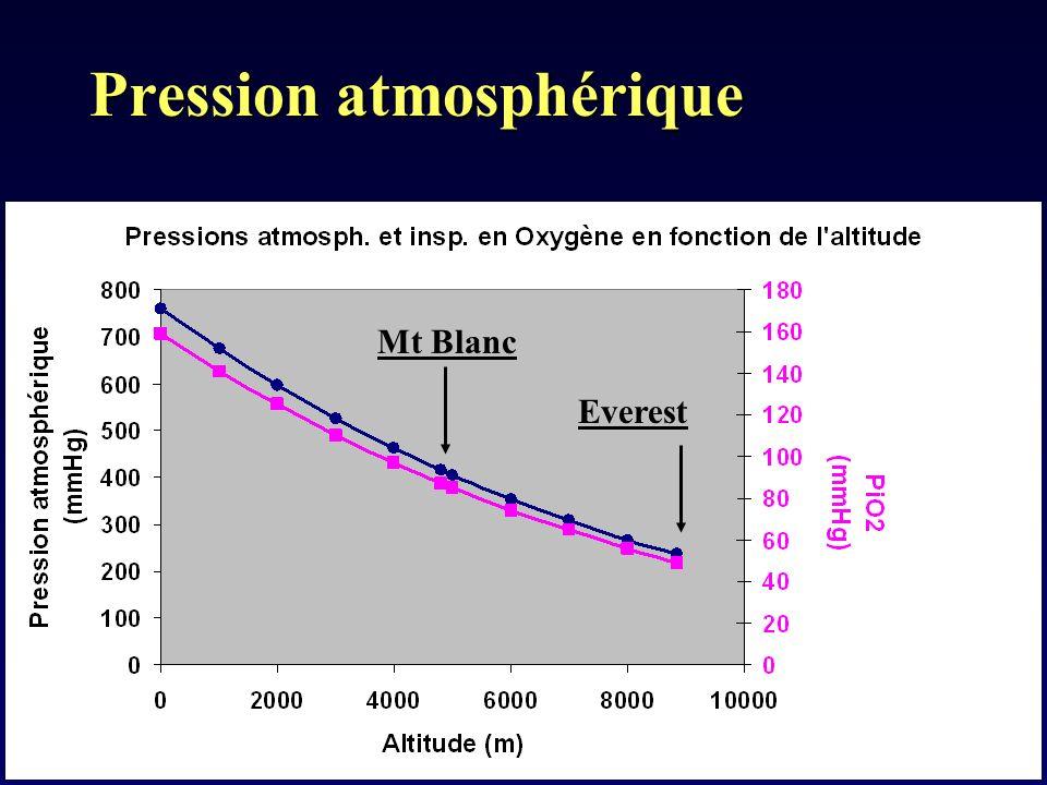 Pression atmosphérique Everest Mt Blanc